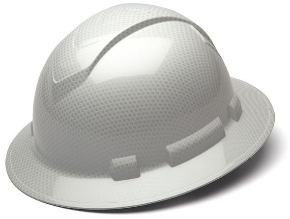 Pyramex HP54MIXS Ridgeline Full Brim Hard Hat with 4-Point Ratchet Suspension - Shiny White Graphite Pattern