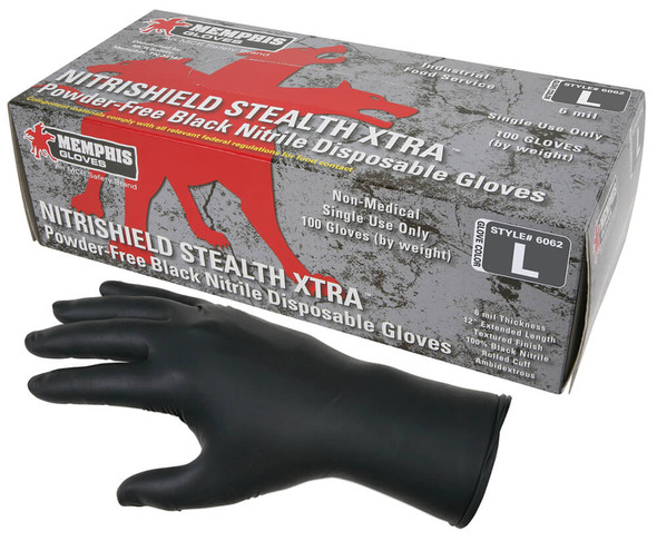 MCR NitriShield Stealth Disposable Industrial/Food-Grade 6-mil Nitrile Gloves - Gloves with Box of 100