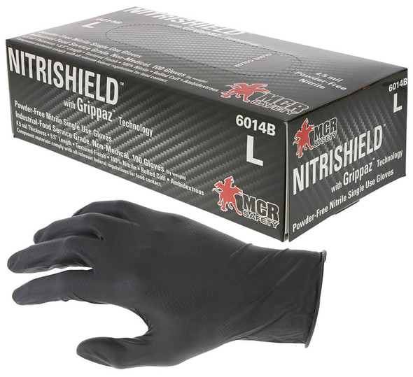 MCR NitriShield Disposable Nitrile Gloves w/Grippaz Technology 4.5-mil - Gloves with Box of 100