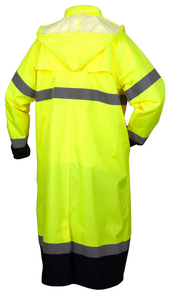 Pyramex RRWC3110 Premium Hi-Vis Raincoat with Drawstring Hood - Back