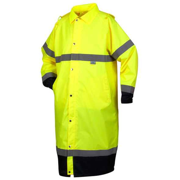 Pyramex RRWC3110 Premium Hi-Vis Raincoat with Drawstring Hood - Front