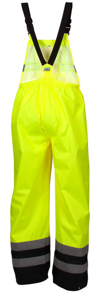 Pyramex RRWB3110 Premium Hi-Vis Rainwear Bibs with Removable Knee Pads - Back