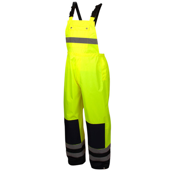 Pyramex RRWB3110 Premium Hi-Vis Rainwear Bibs with Removable Knee Pads - Front