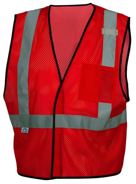 Pyramex RV1227 Non-ANSI Mesh Safety Vest - Red - Front