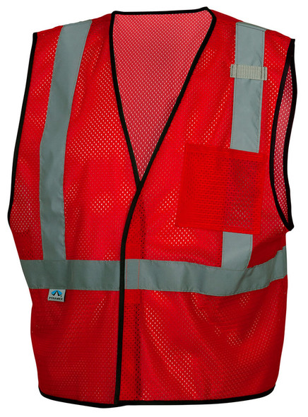 Pyramex RV1227 Non-ANSI Mesh Safety Vest - Red - Front