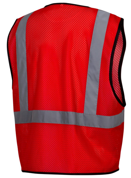 Pyramex RV1227 Non-ANSI Mesh Safety Vest - Red - Back