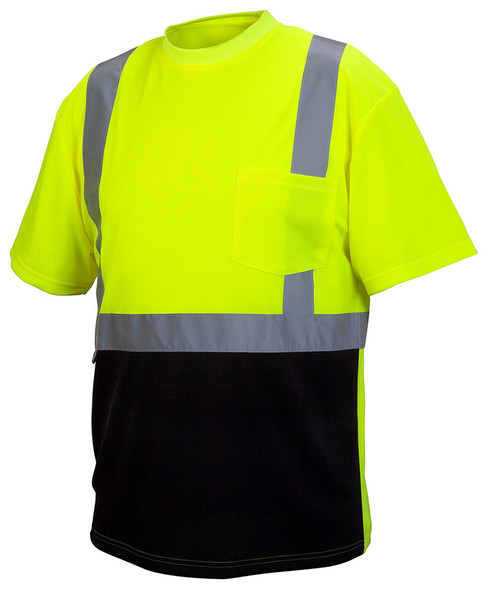 Pyramex RTS2110B Type R Class 2 Black Bottom Safety T-Shirt Hi-Vis Lime - Front