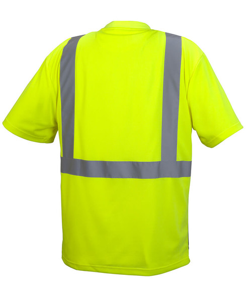 Pyramex RTS2110B Type R Class 2 Black Bottom Safety T-Shirt Hi-Vis Lime - Back