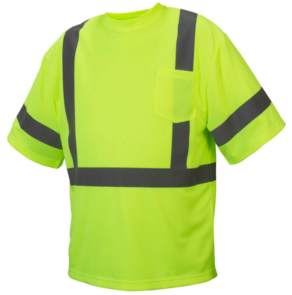 Pyramex RTS3310 Type R Class 3 Safety T-Shirt Hi-Vis Lime - Front