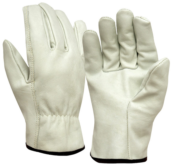 Pyramex GL2004 Grain Cowhide Leather Driver Gloves w/ Straight Thumb (12 Pair)