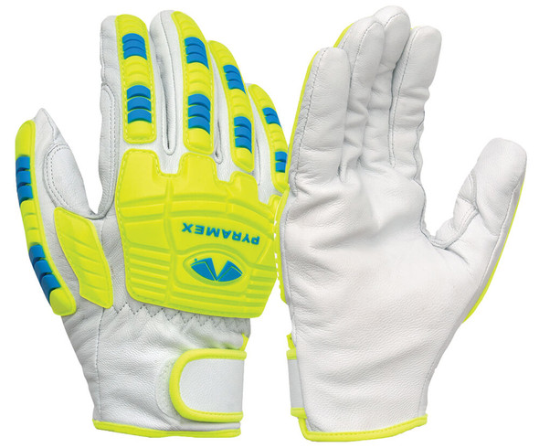 Pyramex GL3004CW Premium Goatskin High-Visibility Leather Driver Gloves (12 Pair)