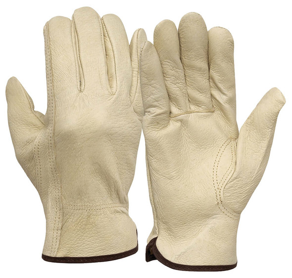 Pyramex GL4001K Pigskin Leather Driver Gloves w/ Keystone Thumb (12 Pair)