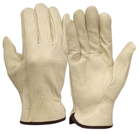 Pyramex GL4001K Pigskin Leather Driver Gloves w/ Keystone Thumb (12 Pair)