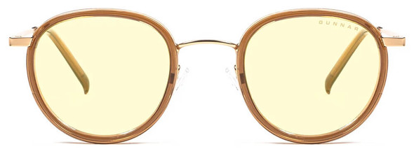Gunnar Atherton Computer Glasses with Satin Gold Frame and Amber Lens - Front