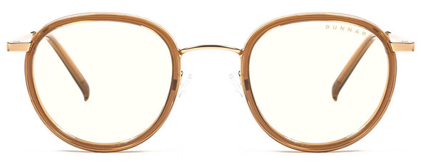 Gunnar Atherton Computer Glasses with Satin Gold Frame and Clear Lens - Front