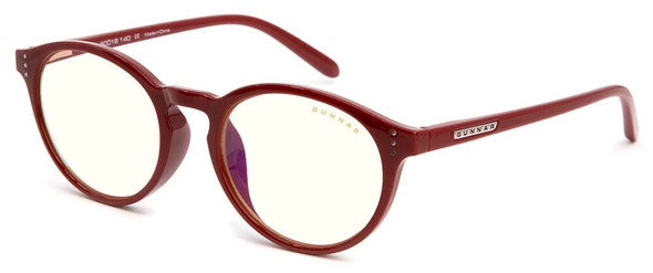 Gunnar Attache Computer Glasses with Dark Red Frame and Clear Lens