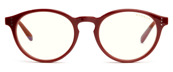 Gunnar Attache Computer Glasses with Dark Red Frame and Clear Lens - Front