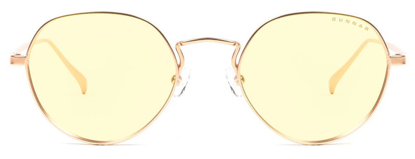 Gunnar Infinite Computer Glasses with Satin Gold Frame and Amber-React Lens - Front