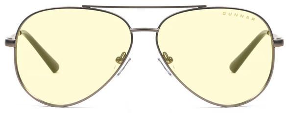 Gunnar Maverick Computer Glasses with Gunmetal Frame and Amber Lens - Front