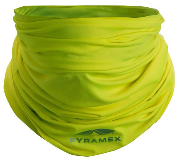 Pyramex MPB10 Hi-Vis Lime Multi-Purpose Cooling Band - Being Worn