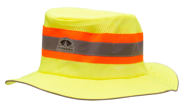 Pyramex RRH10 Cooling Ranger Hat, Hi-Vis Lime - Close Up