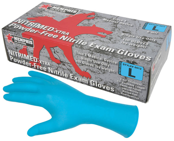 MCR Nitri-Med Disposable Gloves, Blue, Medical Grade, Powder Free, 6 Mil (Box 100)