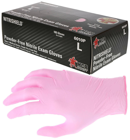 MCR NitriShield Disposable Gloves, Pink, Medical Grade, Powder Free, 4 Mil (Box 100)