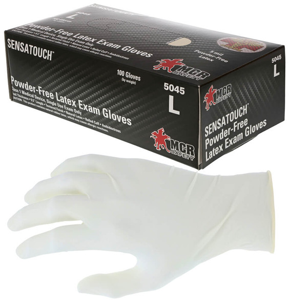 MCR SensaTouch Disposable Gloves, Natural Latex, Medical Grade, Powder Free, 5-Mil (Box 100)