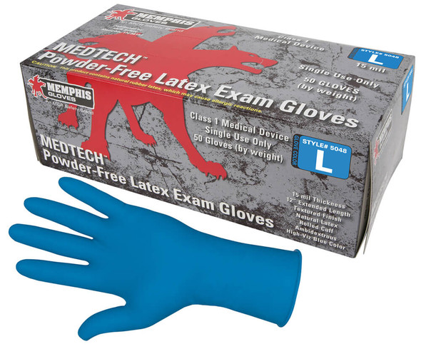 MCR MedTech Disposable Gloves, Blue Latex, Medical Grade, Powder Free, 15-Mil (Box 50)