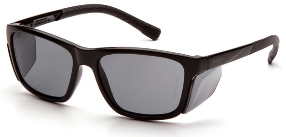 Pyramex Conaire Safety Glasses with Black Frame and Gray Lens SB10720D