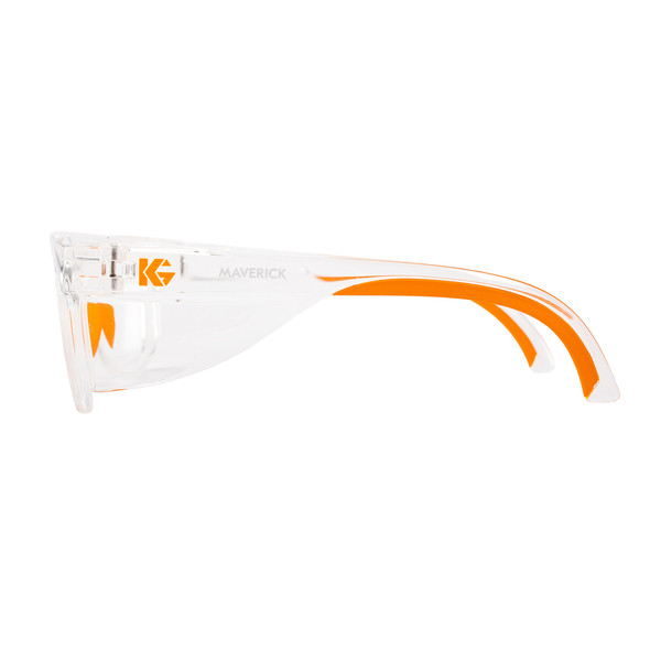 KleenGuard Maverick Safety Glasses with Clear Frame and Clear Anti-Fog Lens Side View