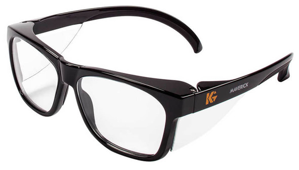 KleenGuard Maverick Safety Glasses with Black Frame and Clear Anti-Fog Lens