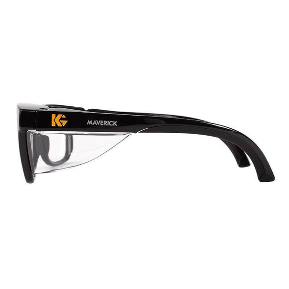 KleenGuard Maverick Safety Glasses with Black Frame and Clear Anti-Fog Lens 49309 Side View