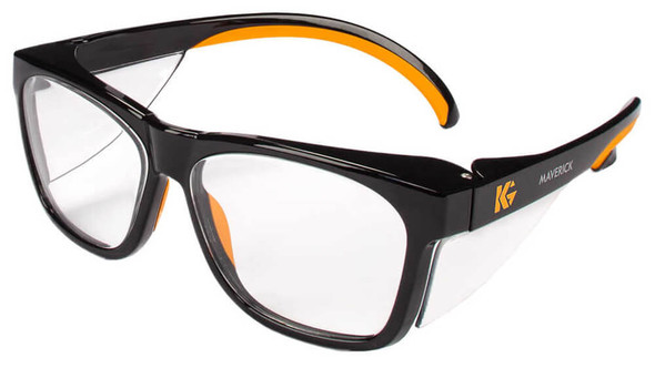 KleenGuard Maverick Safety Glasses Black/Orange Frame Clear Anti-Glare Lens