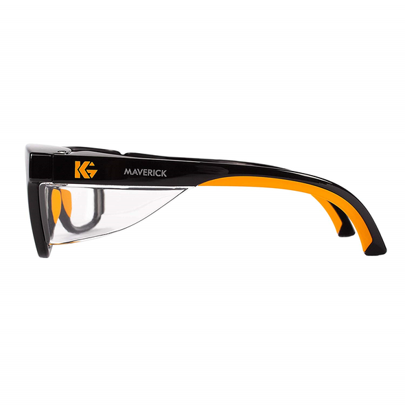 KleenGuard Maverick Safety Glasses Black/Orange Frame Clear Anti-Glare Lens Side View