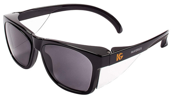 KleenGuard Maverick Safety Glasses with Black Frame and Gray Anti-Fog Lens