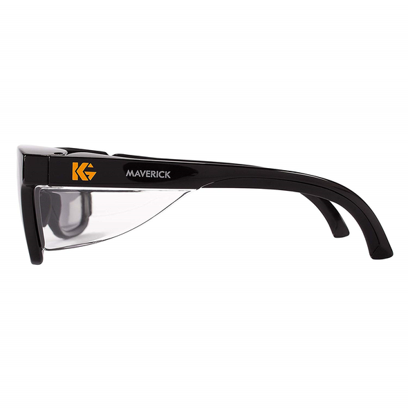 KleenGuard Maverick Safety Glasses with Black Frame and Gray Anti-Fog Lens Side View
