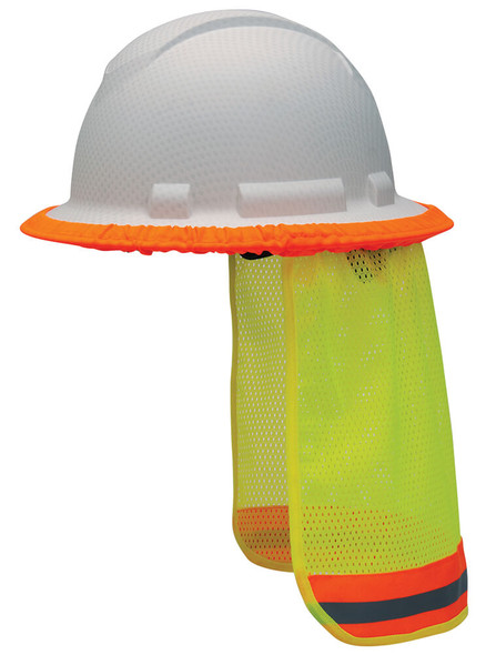 Pyramex Hard Hat Mesh Neck Shade, Hi-Vis Lime