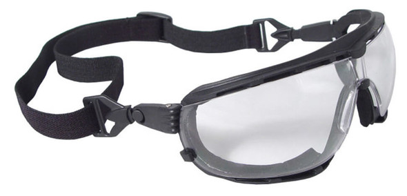 Radians Dagger Foam-Lined Safety Glasses/Goggle with Clear Anti-Fog Lens - shown with included strap