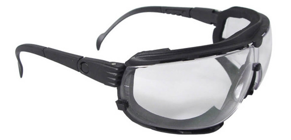 Radians Dagger Foam-Lined Safety Glasses/Goggle with Clear Anti-Fog Lens - shown with included temples