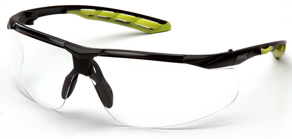 Pyramex Flex-Lyte Safety Glasses with Black/Lime Frame and Clear H2MAX Anti-Fog Lens
