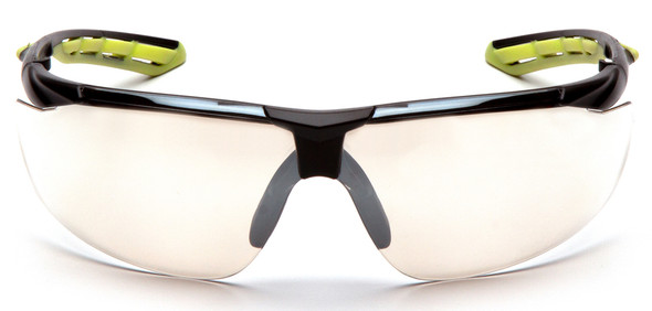 Pyramex Flex-Lyte Safety Glasses with Black/Lime Frame and Clear H2MAX Anti-Fog Lens - Front View
