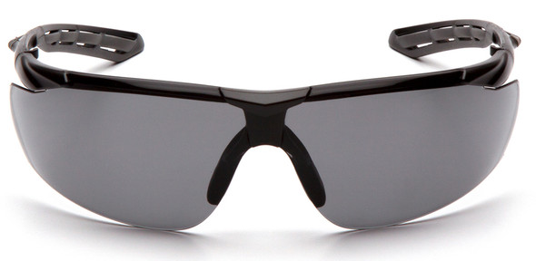 Pyramex Flex-Lyte Safety Glasses with Black/Gray Frame and Gray Lens - Front View