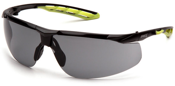 Pyramex Flex-Lyte Safety Glasses with Black/Lime Frame and Gray H2MAX Anti-Fog Lens
