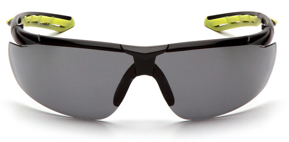 Pyramex Flex-Lyte Safety Glasses with Black/Lime Frame and Gray H2MAX Anti-Fog Lens - Front View
