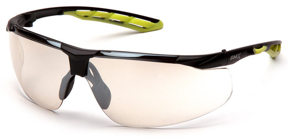 Pyramex Flex-Lyte Safety Glasses with Black/Lime Frame and Indoor/Outdoor Mirror Lens