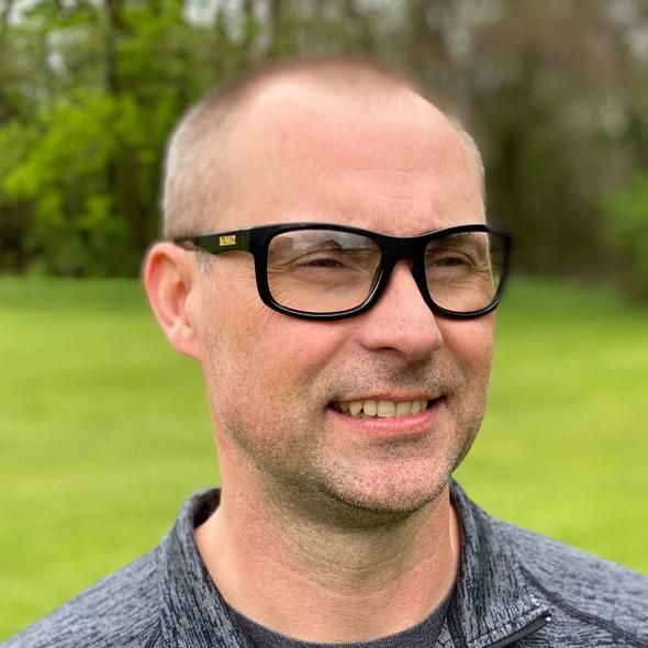 DeWalt Supervisor Safety Glasses with Black Frame and Clear Lens - being worn