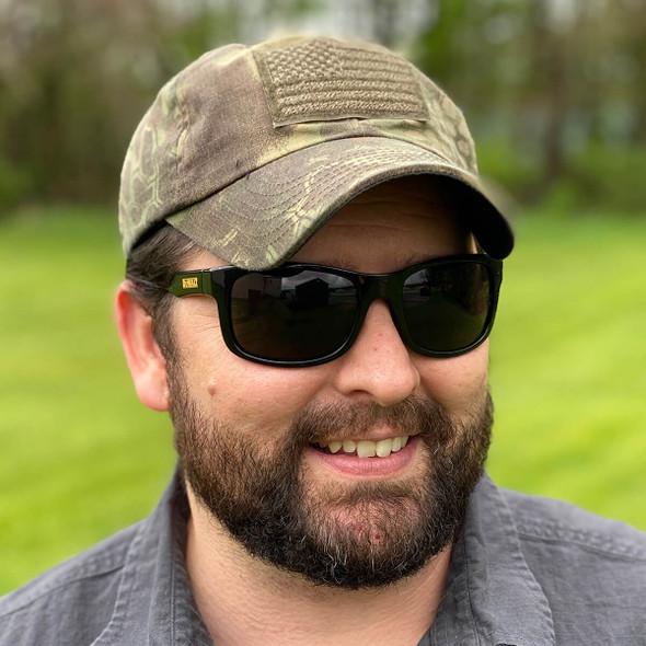 DeWalt Supervisor Safety Glasses with Black Frame and Smoke Lens - Being Worn