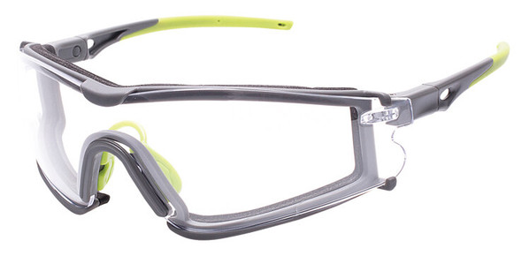 Encon Veratti Scudo Foam-Padded Safety Glasses/Goggles with Gray/Green Frame and Clear Anti-Fog Lens