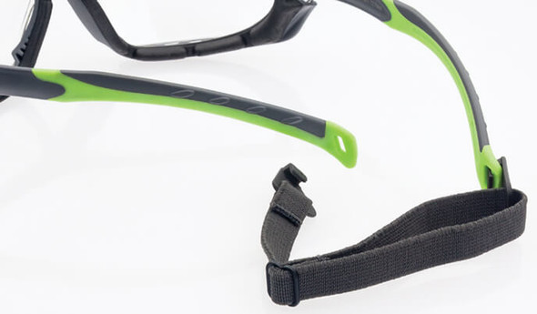 Encon Veratti Primo Foam-Padded Safety Glasses/Goggles with Gray/Green Frame and Clear Anti-Fog Lens - Strap